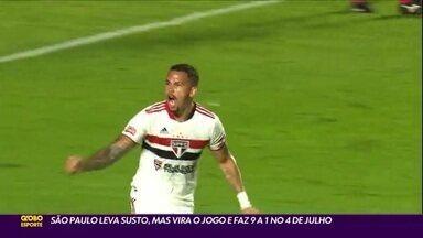 São Paulo leva susto, mas vira o jogo e faz 9 a 1 no 4 de Julho - São Paulo leva susto, mas vira o jogo e faz 9 a 1 no 4 de Julho