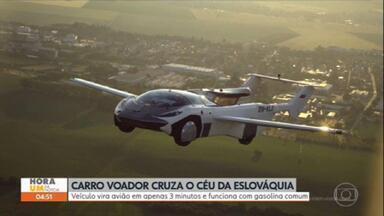 Carro voador realiza viagem de 35 minutos na Eslováquia - O céu da Eslováquia virou palco de uma cena que parece ter saído de um filme futurista. Um protótipo de carro voador completou, com sucesso, o primeiro voo entre duas cidades do país. O piloto foi o próprio criador do automóvel.
