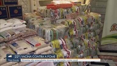 Postos de vacinação arrecadam alimentos durante imunização contra a Covid-19 - Fundo Social de Solidariedade de Santos está com baixa arrecadação.