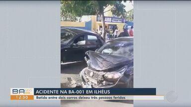 Acidente entre dois carro deixa três feridos na BA-001, em Ilhéus - Situação foi registrada no domingo (4).