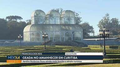 Geada no Jardim Botânico atrai turistas - Terça-feira começou fria e com geada fraca em vários pontos de Curitiba.