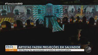 Artistas fazem apresentação com projeção de luzes em prédio de Salvador - Show aconteceu na quinta-feira (22), no prédio do arquivo público.