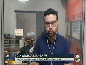 Homem é suspeito de roubar R$ 14 mil e títulos de capitalização - Rafael de Paula, da CBN Araraquara, tem mais informações.