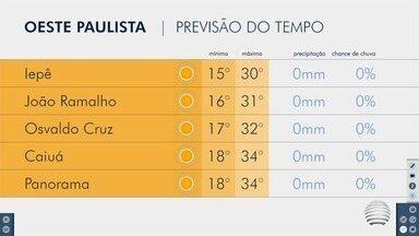 Confira como ficam as temperaturas neste início de semana - Saiba a previsão do tempo para o Oeste Paulista.