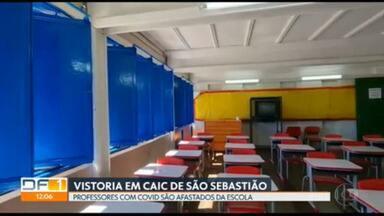 Comissão da Câmara Legislativa faz vistoria em escola com suspeita de furto de covid - Quatro professores do Caic de São Sebastião testaram positivo para covid. GDF diz que foram afastados antes das aulas recomeçarem.