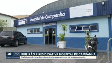 SP registra queda nas internações por Covid-19 - Em uma semana taxa de ocupação de leitos de UTI e enfermaria caiu 9%. Ribeirão Pires desativou o hospital de campanha que não recebia pacientes desde o dia 31/07.