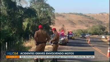 Seis pessoas morrem em acidentes em estradas da região de Cascavel - Todas as vítimas eram motociclistas.