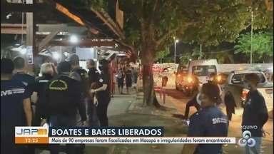 Primeiro fim de semana de bares e boates em Macapá tem fiscalização educativa - Ao todo, mais de 90 estabelecimentos foram visitados entre sexta-feira (6) e domingo (8). Num deles, foram apreendidas caixas de som automotivo e aparelhagem.