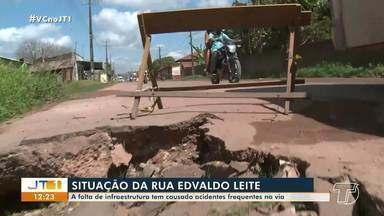 Falta de infraestrutura tem causado acidentes frequentes na rua Edvaldo Leite, em Santarém - Moradores reclamam de condições da via.