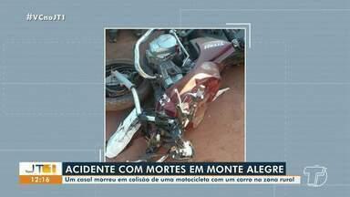Casal morre após acidente entre carro e moto em Monte Alegre, no PA - Batida entre veículos aconteceu na zona rural do município.