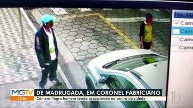 Homem é morto a tiros no Centro de Coronel Fabriciano - Câmeras registraram o crime.