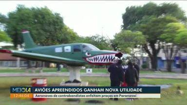 Aviões apreendidos ganham nova utilidade em Paranavaí - Aeronaves de contrabandistas enfeitam praças.