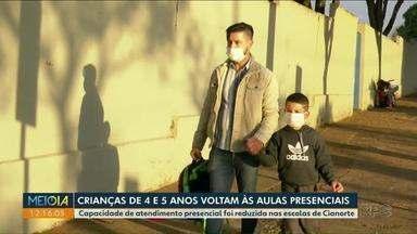 Crianças de 3 e 5 anos voltam às aulas presenciais em Cianorte - Capacidade de atendimento presencial foi reduzida nas escolas por conta da pandemia.
