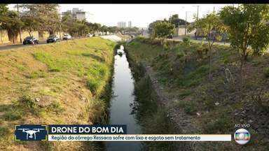 Região do córrego Ressaca sofre com lixo e esgoto sem tratamento - Córrego desagua na Lagoa da Pampulha.
