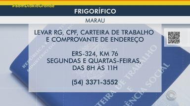 Veja as vagas de emprego do Bom Dia Rio Grande - Indústria tem vagas para operadores de produção em Marau. Em Cachoeirinha, tem oportunidade para costureiras. Veja como se inscrever.