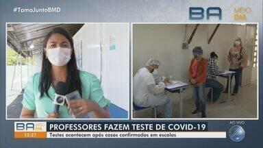 Professores fazem teste de Covid-19 após casos confirmados em escola de Itabuna - Testagem iniciou na quinta-feira (12), após professor testar positivo para a doença.