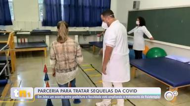 Prefeitura de Jales oferece fisioterapia para pacientes que tiveram Covid - A Prefeitura de Jales (SP) fez uma parceria com uma faculdade para oferecer fisioterapia para quem teve Covid-19.