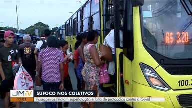 Passageiros relatam superlotação em ônibus de São Luís - Usuários do serviço de transporte público da capital relatam superlotação e falta de protocolo contra a Covid-19.