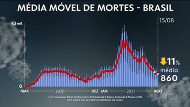 Brasil tem média móvel de 860 mortes diárias por Covid; apenas DF tem tendência de alta nos óbitos - País registra 569.218 óbitos e 20.361.493 casos de coronavírus, segundo balanço do consórcio de veículos de imprensa com dados das secretarias de Saúde.
