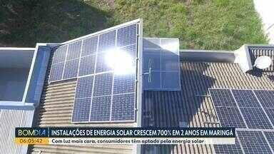 Instalações de energia solar crescem 700% em 2 anos, em Maringá - Com luz mais cara, consumidores têm optado pela energia solar.