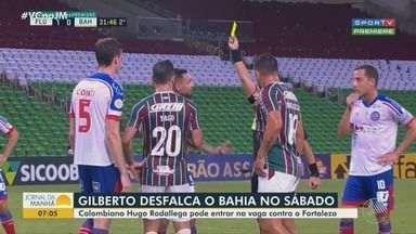 Futebol: Pelo terceiro amarelo, Gilberto desfalca o Bahia na partida contra o Fortaleza - Atacante é advertido por reclamação no segundo tempo do jogo contra o Fluminense e vai cumprir suspensão automática na próxima rodada do Brasileirão