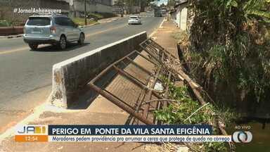 Moradores reclamam sobre perigo de ponte sem barreiras de proteção, em Goiânia - Ponte fica sobre o Córrego Cascavel.