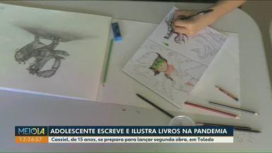 Adolescente escreve e ilustra livros na pandemia - Cassiel, de 15 anos, se prepara para lançar segunda obra em Toledo.