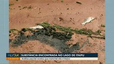 Análise parcial revelou que material encontrado no Lago de Itaipu não é tóxico - A substância foi encontrada em Santa Helena.