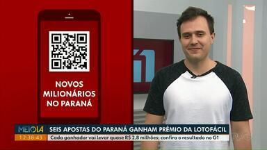 Seis apostas do Paraná ganham prêmio da Lotofácil - Cada ganhador vai levar quase R$ 2,8 milhões. Confira o resultado no G1.