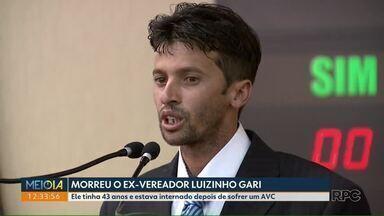 Morre ex-vereador de Maringá, Luizinho Gari - Ele tinha 43 anos e estava internado depois de sofrer um AVC.