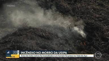 Homem é preso após colocar fogo em mata em Ipatinga - O incêndio de grandes proporções ainda é combatido.