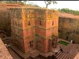 Le chiese dall'alto verso il basso sono un sito del patrimonio mondiale in Etiopia