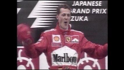 Em 2000, Michael Schumacher é tricampeão mundial ao vencer o GP do Japão de Fórmula 1
