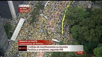 Número de manifestantes na Avenida Paulista chega a 1 milhão, afirma PM