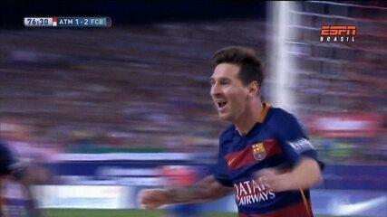 Com gols de Messi e Neymar, Barcelona vence o Atlético de Madrid por 2 a 1
