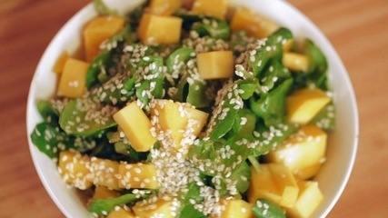 Receita de salada de agrião com manga