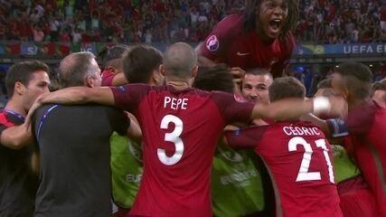 Gol de Portugal! Éder recebe sozinho e bate de fora da área aos 03' do 2º T P