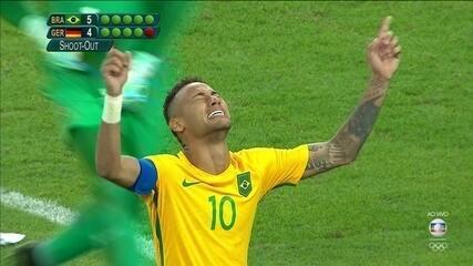 Os gols de Brasil (5) 1 x 1 (4) Alemanha na decisão do ouro Olímpico