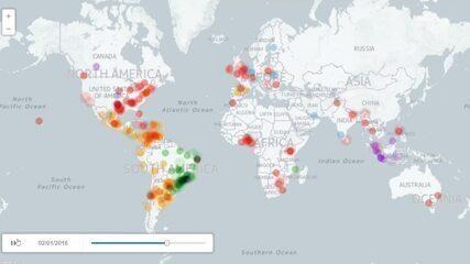 Evolução das menções nas redes sociais sobre zika no mundo (Imagens: UNICEF/Labic)