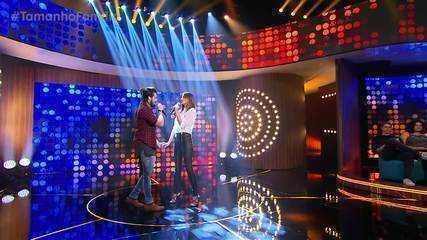 Luan Santana e Camila Queiroz cantam juntos no Tamanho Família