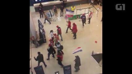 Imagens de briga no Aeroporto Santos Dumont