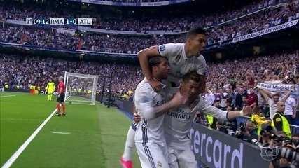 Assista aos três gols do Real Madrid, todos de Cristiano Ronaldo, na vitória sobre o Atlético