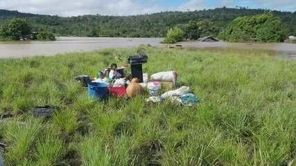 Rio Maú sobe e deixa moradores de Uiramutã, ao Norte de Roraima, isolados