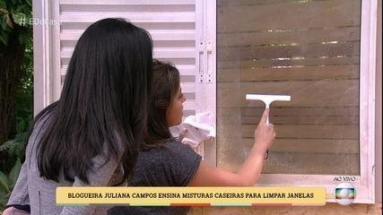 Blogueira Juliana Campos ensina misturas caseiras para limpar janelas