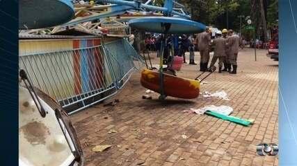 Imagens mostram desespero de pessoas após acidente no Parque Mutirama em Goiânia