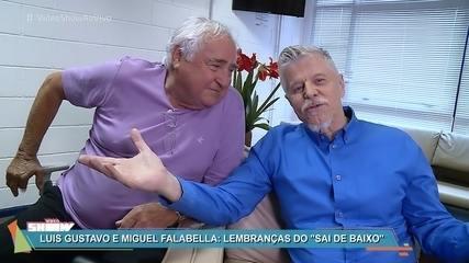 Luis Gustavo e Miguel Falabella se encontram nos bastidores do 'Vídeo Show'