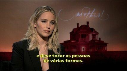 'É uma obra de arte', diz Jennifer Lawrence sobre o suspense 'Mãe!