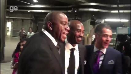 Kobe Bryant chega ao ginásio para aposentadoria de camisas pelos Los Angeles Lakers
