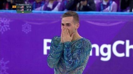 Adam Rippon se emociona e leva torcedores ao delírio na patinação artística em PyeongChang