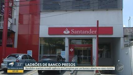 Quatro homens são presos suspeitos de tentativa de furto a banco, em Campinas